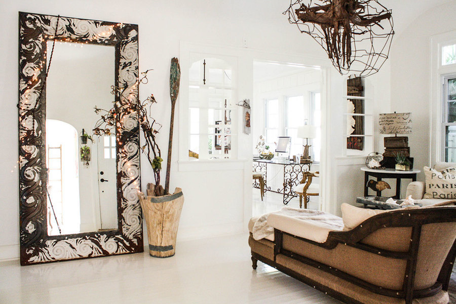 A touch of twinkle lighting gives this grand floor mirror some shimmer and adds instant ambiance to t