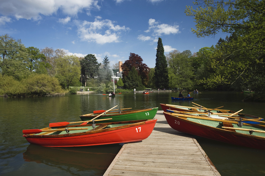 Boats by rowing lake in Palmengarten, Frankfurt