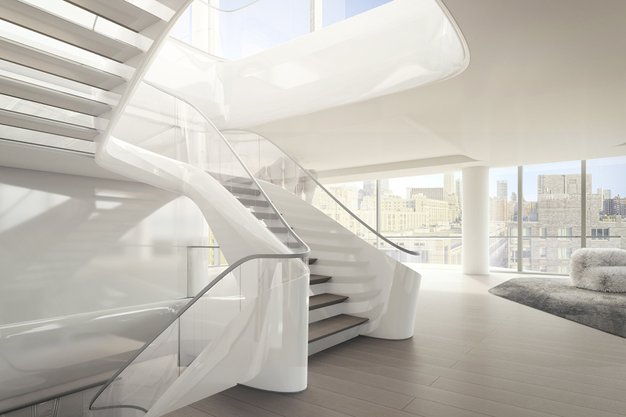A rendering of the staircase in the triplex penthouse.