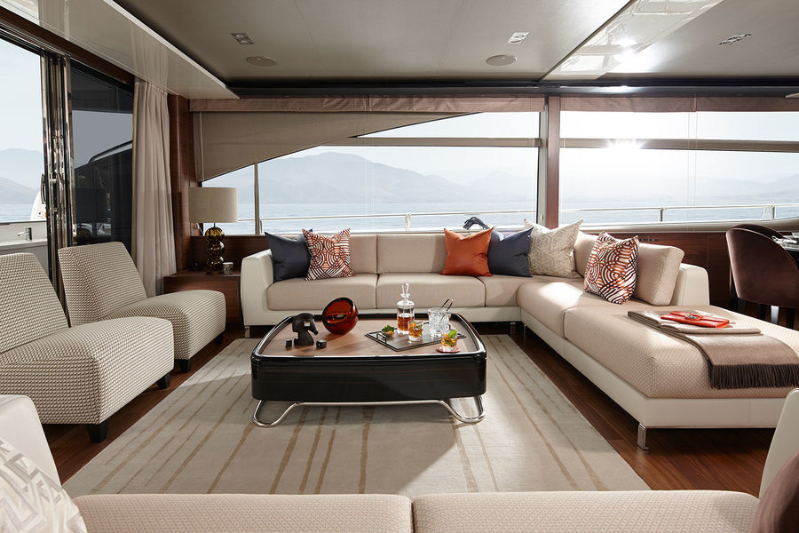 The saloon of Princess Yacht's Princess 88 Motor Yacht model