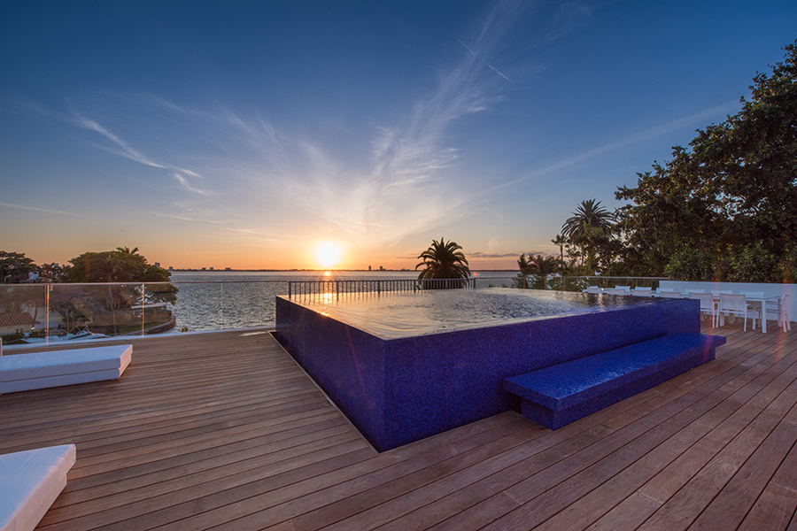 Christian de Berdouare's Miami Beach home features a 3,500-square-foot rooftop terrace with a swimmin