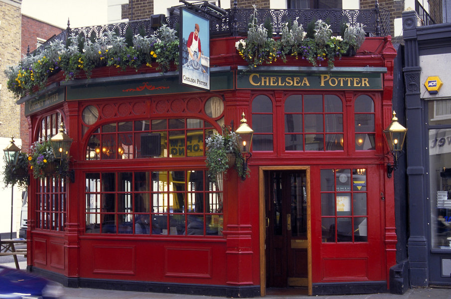 An exterior view of the Chelsea Potter pub on Kings Road, London