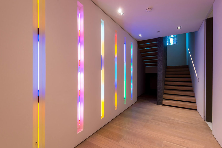 The built in wall neon tubes by Laddie John Dill in the Beverly Hills property