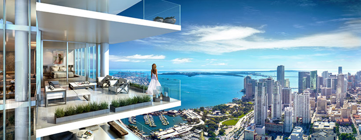 La vista de uno de los balcones del PARAMOUNT Miami World Center.