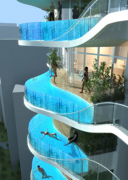 The building's roughly 100 condos will include pools on balconies.