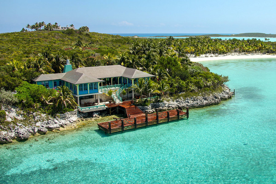 A boat landing and villa of Musha Cay