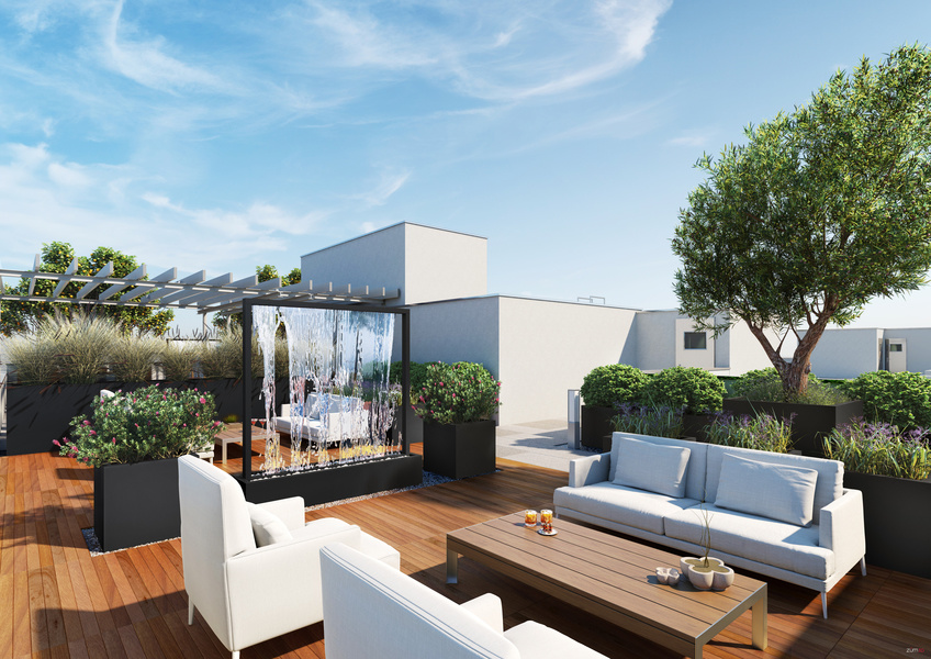 99 Rausch includes a splashy landscaped rooftop with BBQ and outdoor yoga space