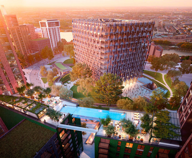La piscina 'en el aire' en el Embassy Gardens conectará dos torres en el piso 10.