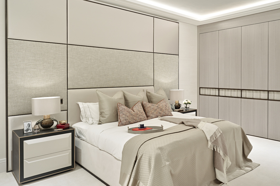 As this bedroom designed by Anna Zvedris for Hyde Park Gardens proves, texture and pattern are as imp