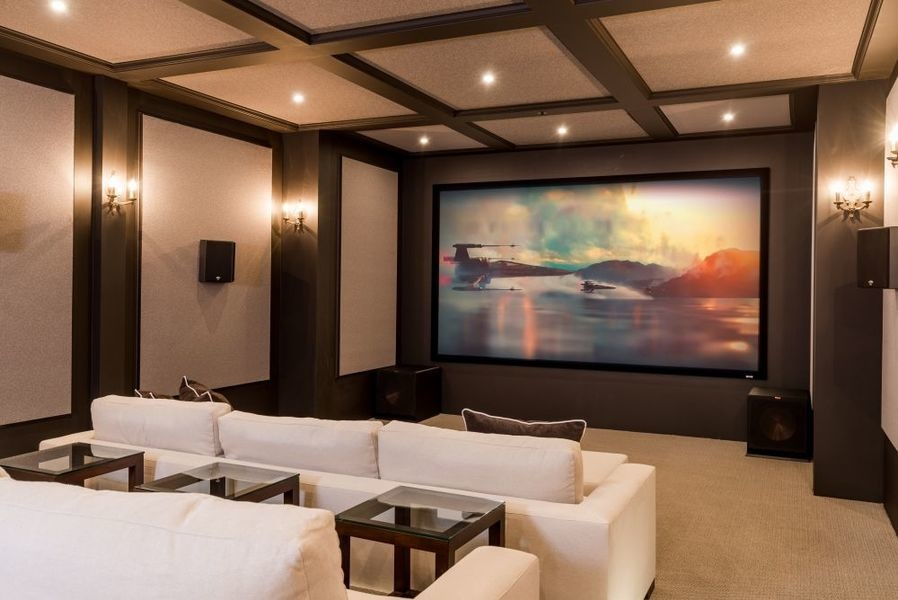 The home's high-end theater.