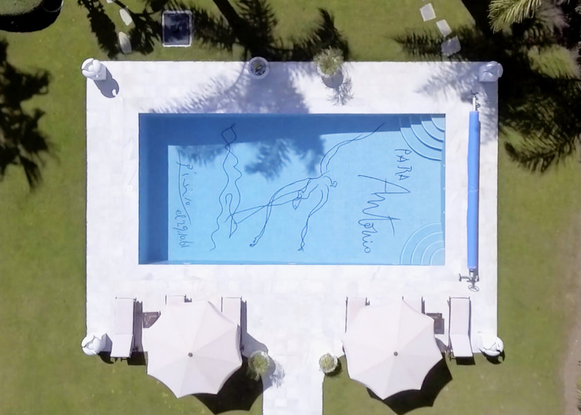 Pablo Picasso signed the bottom of the pool in 1961.