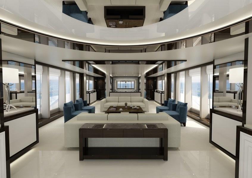 The saloon of Sunseeker's model 131 Yacht.