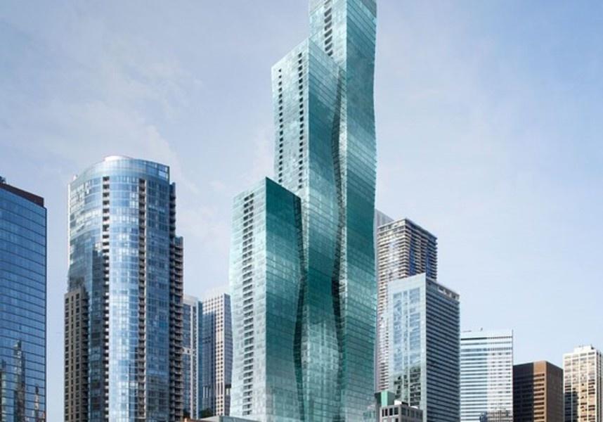 建筑事务所Studio Gang设计的方案由三栋彼此相连的平截体式建筑组成,在街面上有八处拐角,与芝加哥其他高楼相比略显纤细。