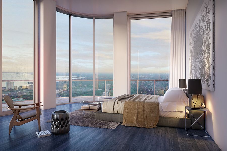 A rendering of a penthouse at the forthcoming SLS LUX Residences in Miami's Brickell neighborhood. Co
